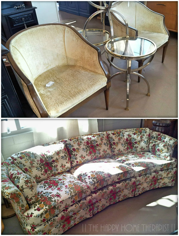 My vintage sofa and chairs before I got them reupholstered! | The Happy Home Therapist