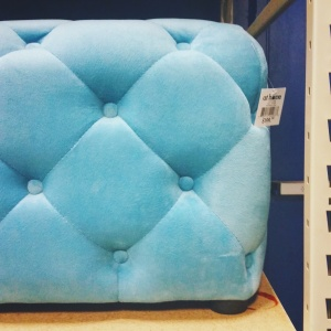 Cute button tufted cocktail ottoman from At Home. | The Happy Home Therapist