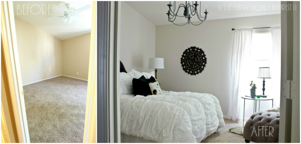 """Before"" and ""after"" of my 80s townhome bedroom makeover. 