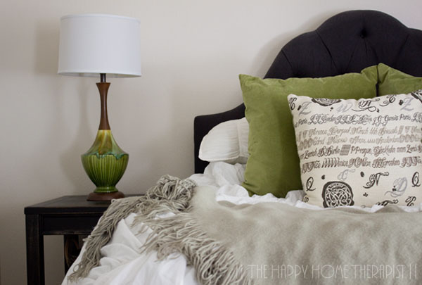 New pillows in my updated 80s townhome bedroom makeover.   The Happy Home Therapist