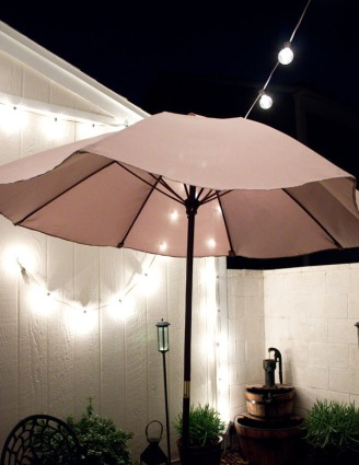 Night view of my patio makeover. | The Happy Home Therapist