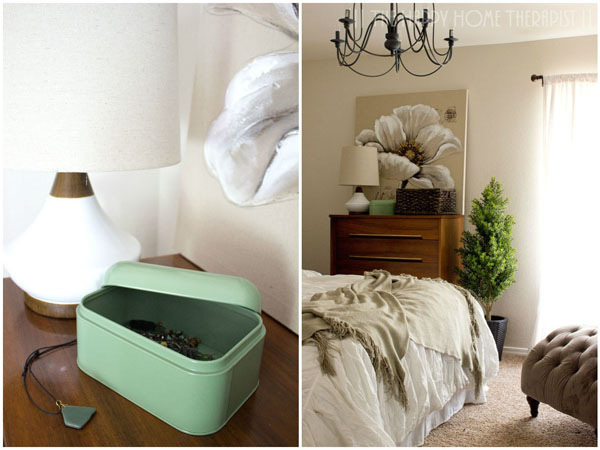 Don't have room to store your favorite bedroom toiletries or jewelry? Try storing them on top of your dresser in decorative baskets, boxes or bins! | The Happy Home Therapist