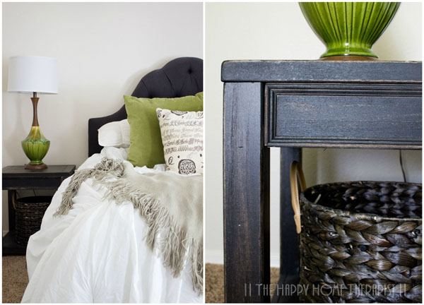 Don't like shelving on your nightstands? Try an end table with open shelving and store your nighttime necessities in a stylish basket! | The Happy Home Therapist