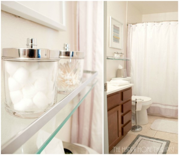 Low on counter space in the bathroom? Try installing a stylish shelf over the toilet to store items such as cotton balls and Q-tips! | The Happy Home Therapist